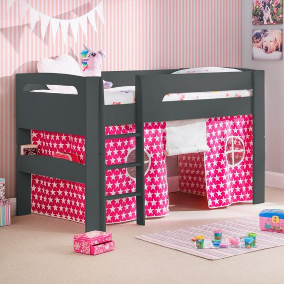 Pluto Anthracite Wooden Mid Sleeper with Starry Pink Tent Frame