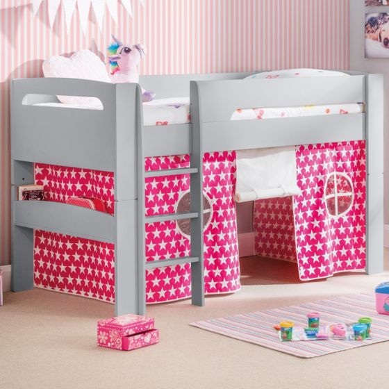 Pluto Dove Grey Wooden Mid Sleeper with Starry Pink Tent