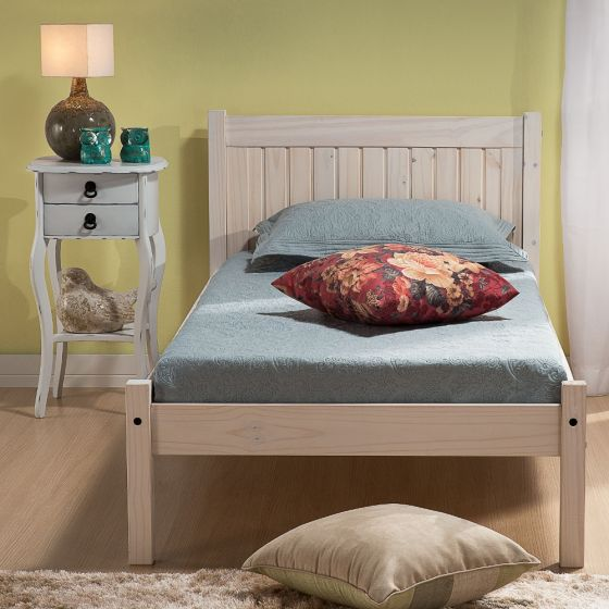 Rio White Washed Pine Wooden Bed