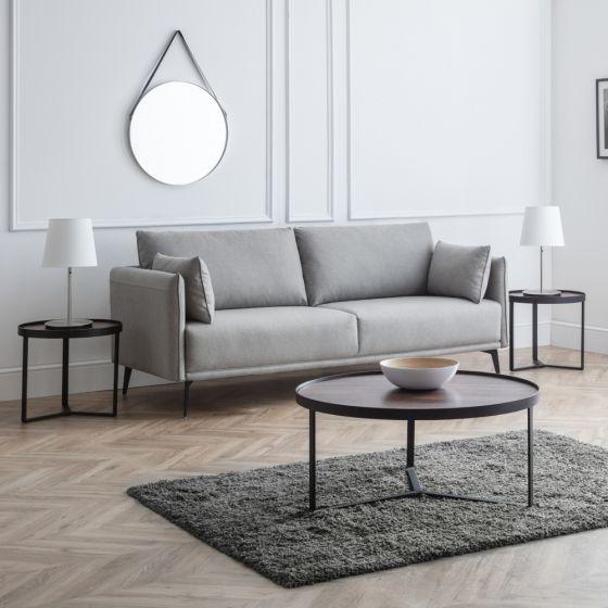 Rohe Grey Fabric 3 Seater Sofa