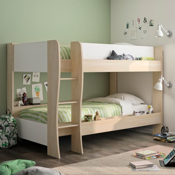 Roomy Oak and White Wooden Bunk Bed