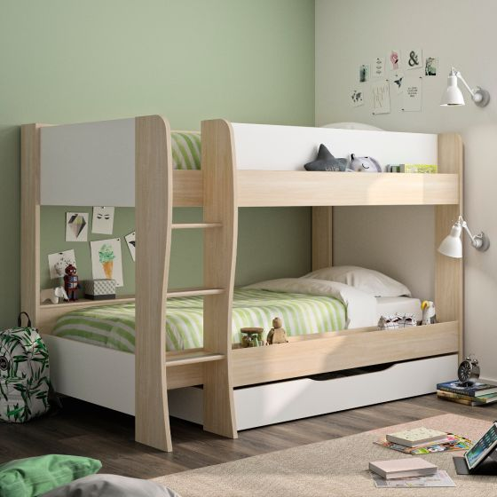 Roomy Oak and White Wooden Bunk Bed With Storage Drawer