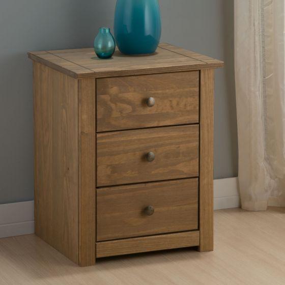 Santiago Pine 3 Drawer Bedside Table