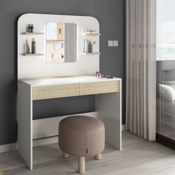 Secret Vanity Oak and White Wooden Dressing Table