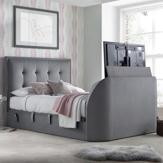 Simpson Light Grey Fabric Ottoman Electric TV Bed