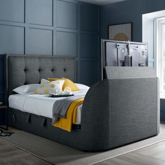 Simpson Slate Grey Fabric Ottoman Electric TV Bed