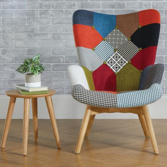 Sloane Multi-Coloured Patchwork Fabric Chair