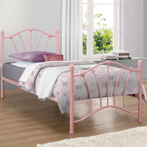 Sophia Pink Metal Bed