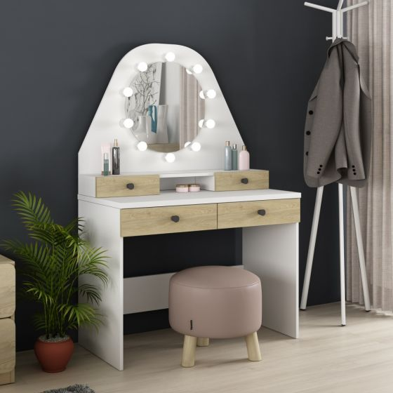 Star Vanity Oak and White Wooden Dressing Table