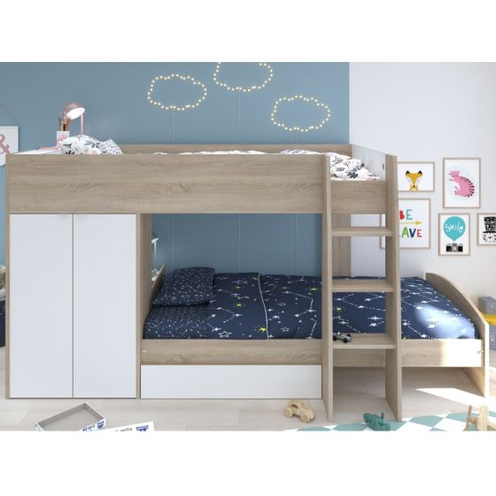 Stim Acacia and White Wooden Bunk Bed