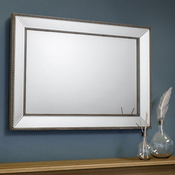 Symphony Pewter and Glass Rectangular Wall Mirror - 110 cm x 80 cm