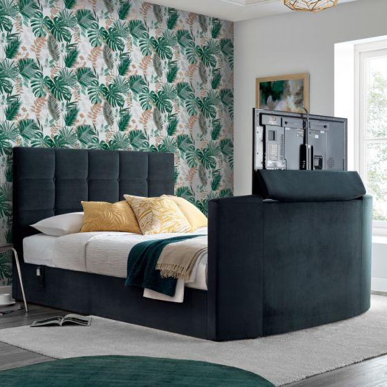 Thornberry Onyx Dark Grey Velvet Electric TV Bed