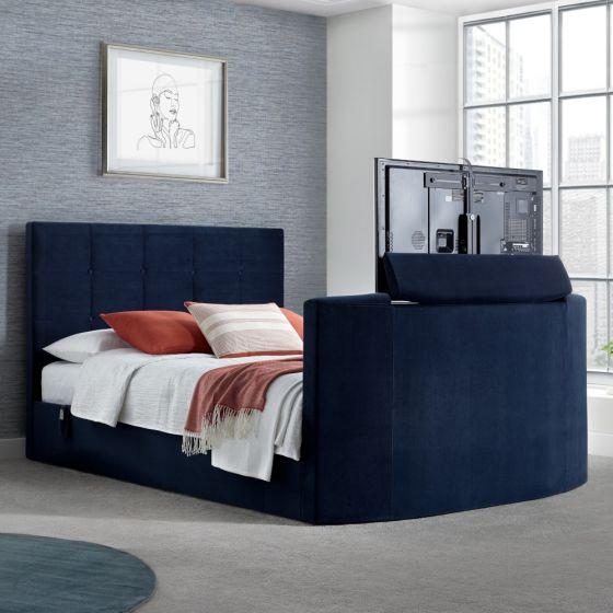 Thornberry Blue Velvet Electric TV Bed