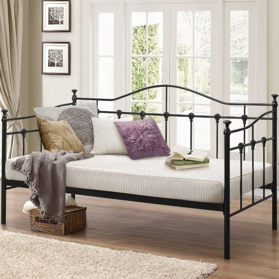 Torino Black Metal Day Bed - 3ft Single
