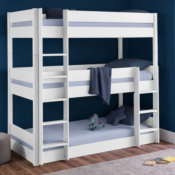 Trio Bright White Wooden Triple Sleeper Bunk Bed