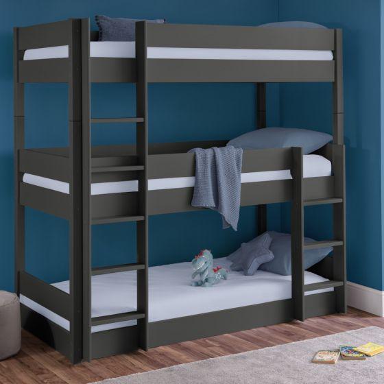 Trio Anthracite Wooden Triple Sleeper Bunk Bed