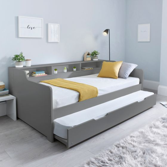 Tyler Grey Wooden Day Bed with Guest Bed Trundle