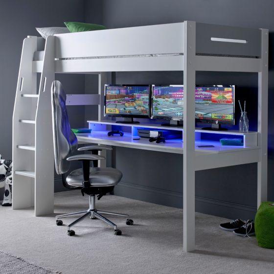 Urban Grey Console Gaming Wooden High Sleeper