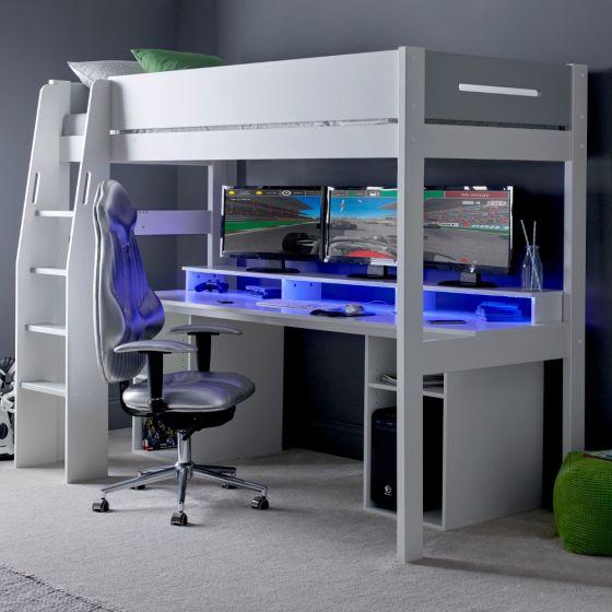 Urban Grey PC Gaming Wooden High Sleeper
