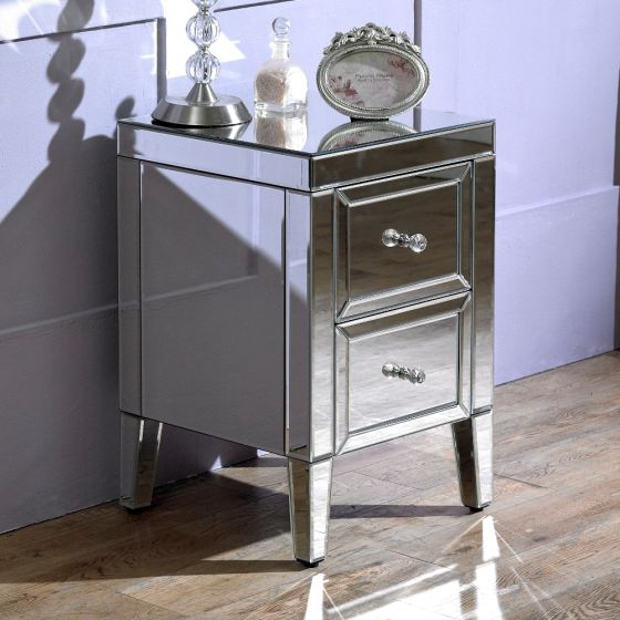 Valencia Mirrored 2 Drawer Bedside Table