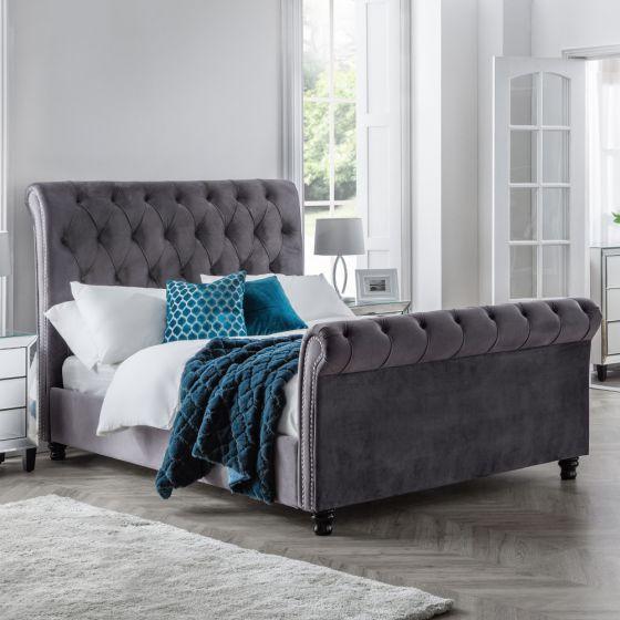 Valentino Grey Velvet Fabric Sleigh Bed