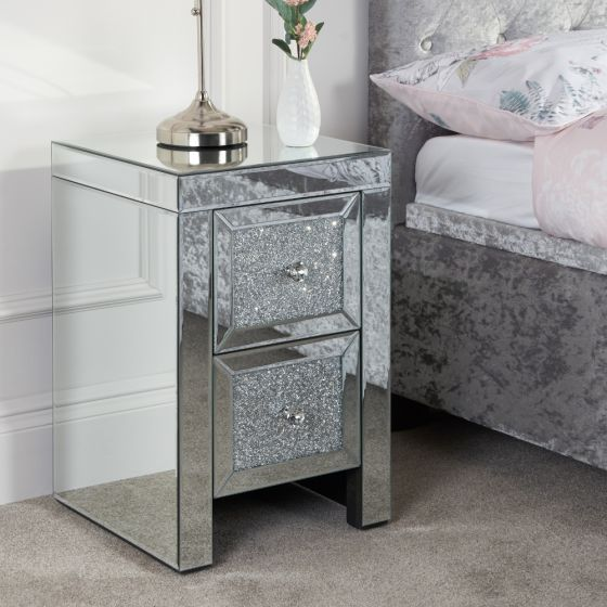 Vienna Mirrored 2 Drawer Bedside Table