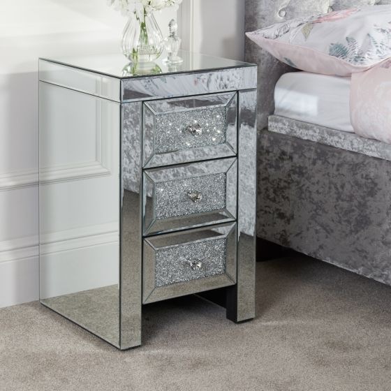 Vienna Mirrored 3 Drawer Bedside Table