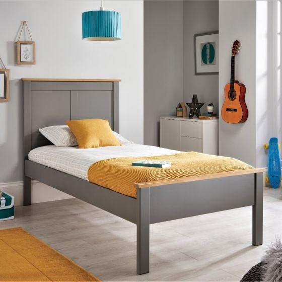 Vigo Grey and Oak Wooden Bed