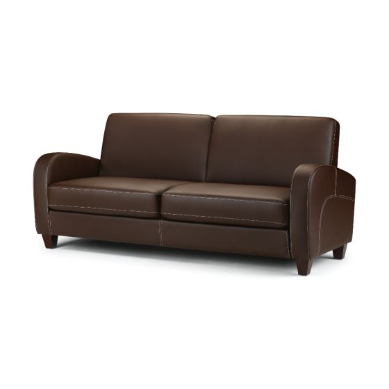 Vivo Brown Faux Leather 3 Seater Sofa