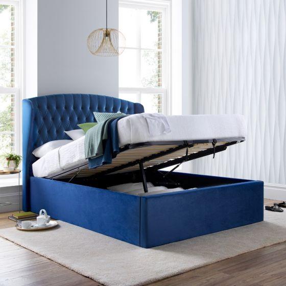 Warwick Blue Velvet Fabric Ottoman Bed