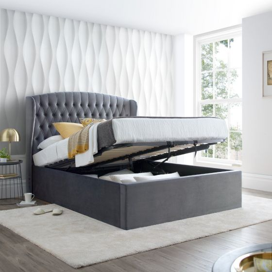 Warwick Grey Velvet Fabric Ottoman Bed