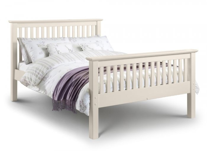 Barcelona High Foot End Stone White Finish Solid Pine Wooden Bed