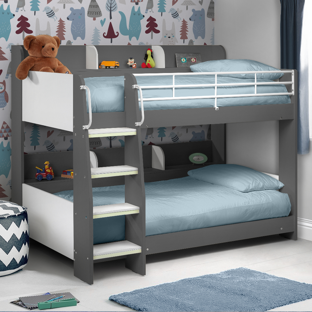 Domino Grey Wooden And Metal Kids Storage Bunk Bed Frame 3ft Single