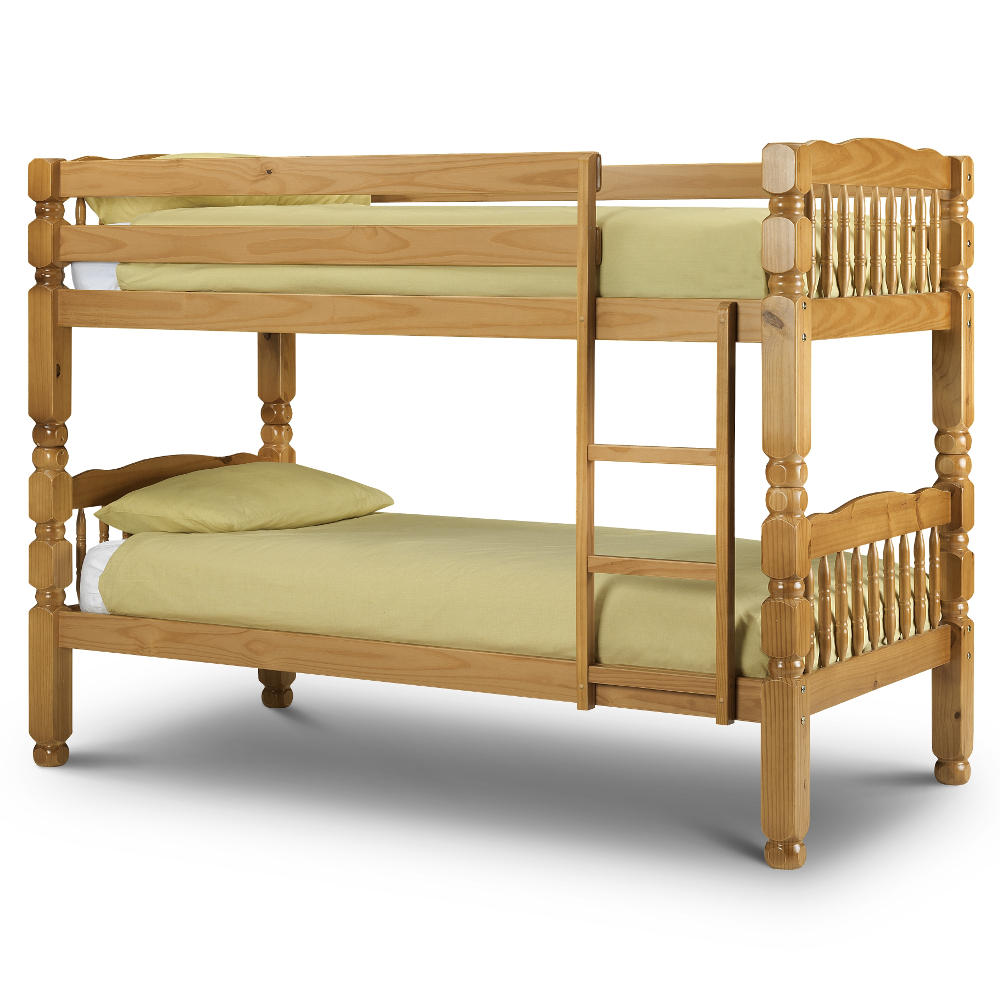Chunky Antique Solid Pine Wooden Bunk Bed Frame 3ft Single