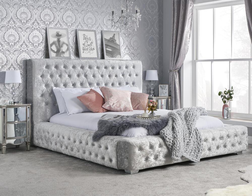 Grande Steel Crushed Velvet Fabric Bed Frame   6ft Super ...
