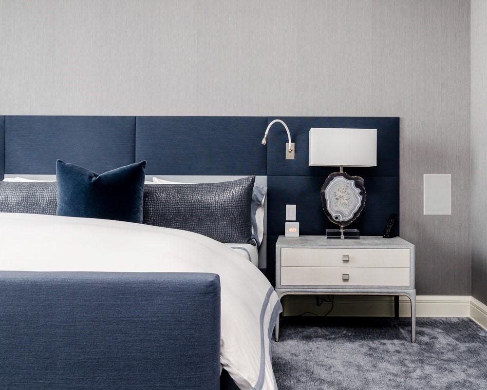 Blue Headboard Bed