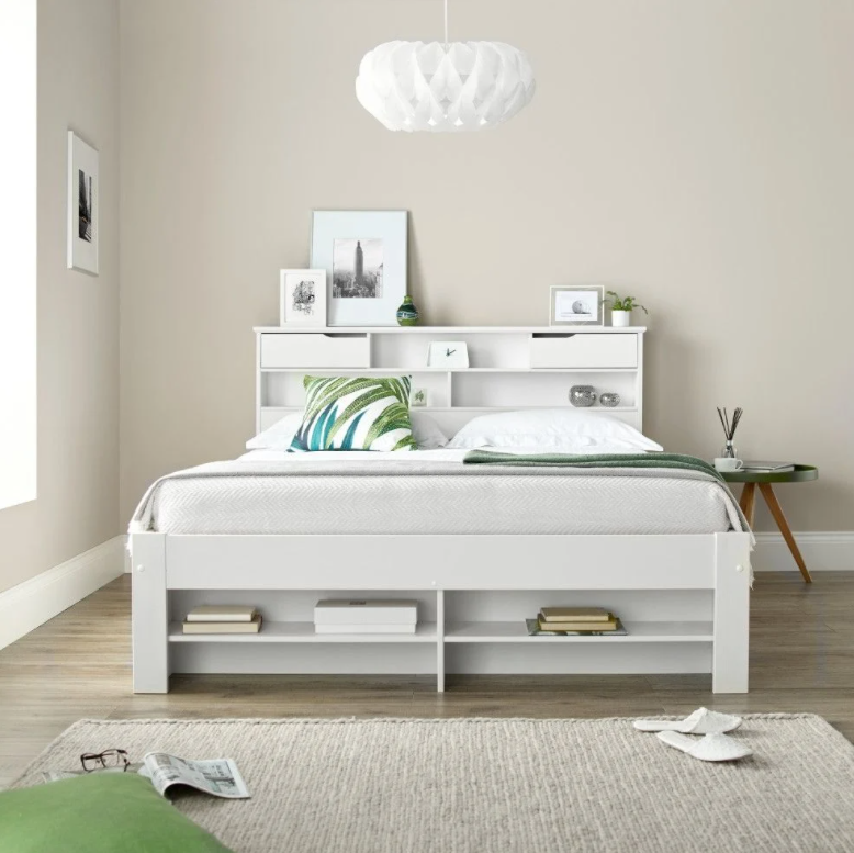 White Fabio bed with neutral colour bedroom