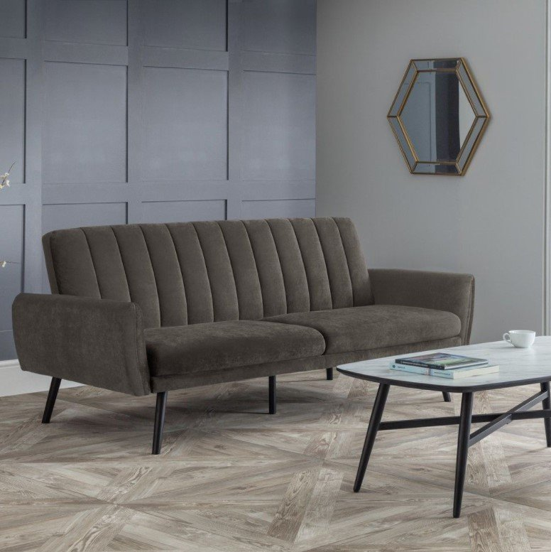 afina grey velvet fabric sofa bed