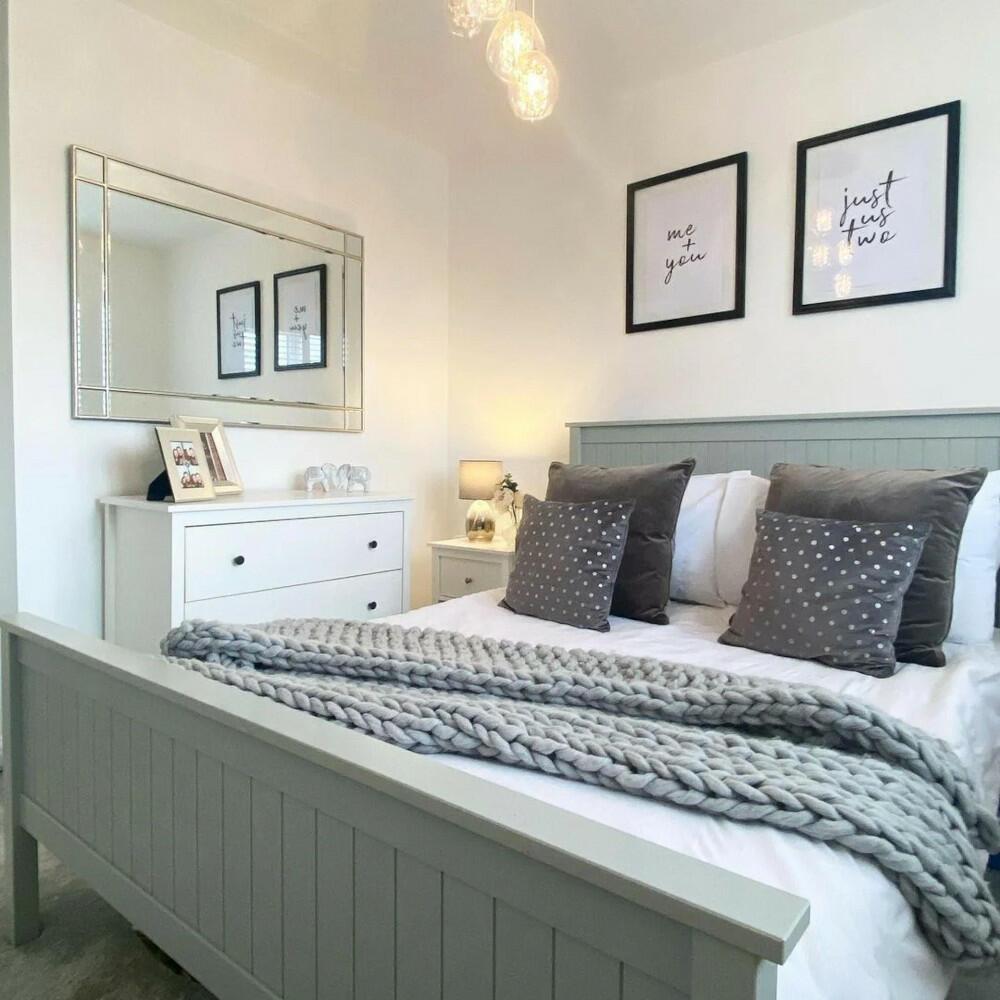 Maine Dove Grey Wooden Bed
