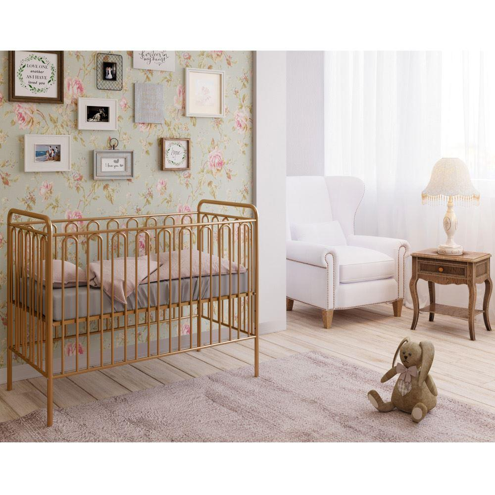 Vintage Gold Metal Baby Cot Frame - 60 x 120 cm