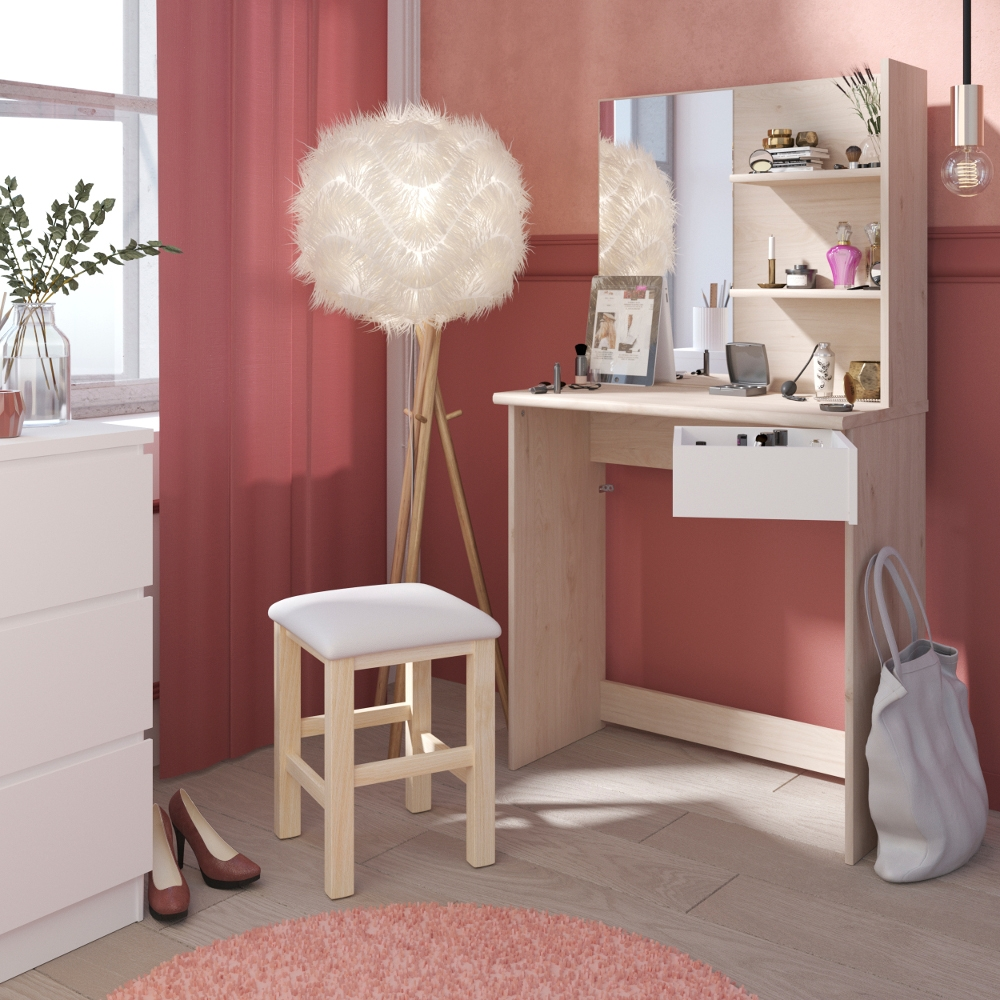 Beauty Bar Compact Dressing Table Oak and White