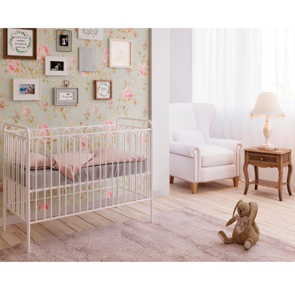 Vintage White Metal Baby Cot Frame - 60 x 120 cm